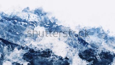 Obraz Horský vrchol v zimě bolest v modrém tónu na bílém pozadí, digitální akvarel malování