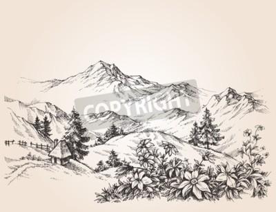 Obraz Hory krajiny skica