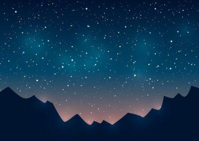 Obraz Hory siluety na hvězdném pozadí