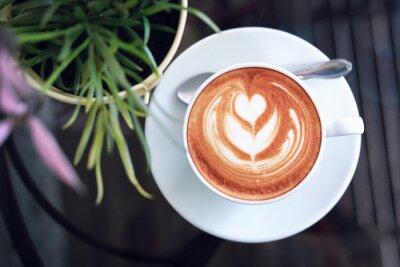 Obraz hot latte coffee in cafe restaurant