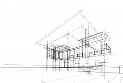 Obraz house building sketch architecture 3d illustration