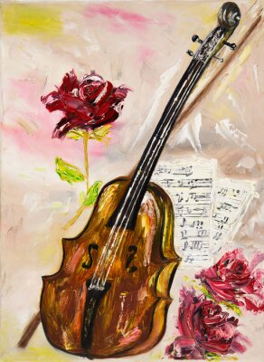 Obraz Housle a růže