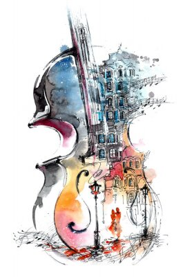 Obraz hudba a město
