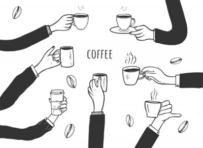 Obraz Human hands with cups of coffee set