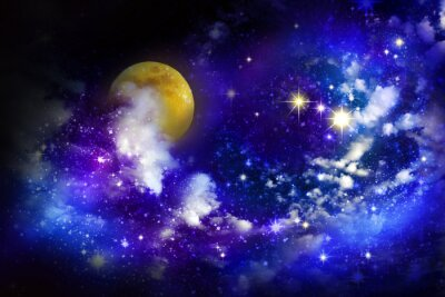 Obraz Hvězdy a měsíc v úplňku na noční obloze.