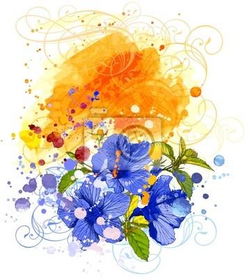 Ibišek květ a akvarel na pozadí
