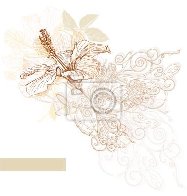 Ibišek květ - vektor akvarel barvy