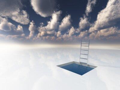 Obraz Ice jako povrch bazénu s vodou a žebříku
