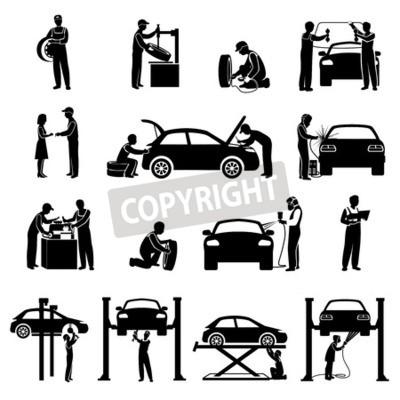 Obraz Ikony Auto servisní černý set s mechanikem a automobilů siluety ilustrace