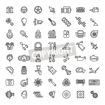 Obraz Ikony čáry automobilů jsou nastaveny. Symbol opravy servisní služby, převodový motor, klíč a filtr, vektorové ilustrace