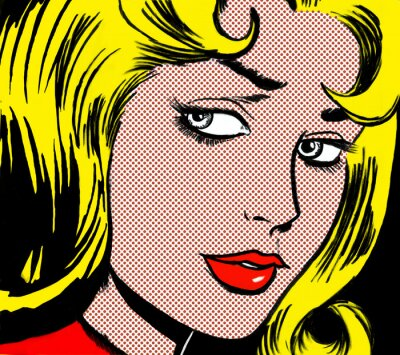 Obraz illustration of a girl face in the style of 60s comic books, pop art