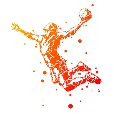 Obraz ilustrace abstraktní basketbalista v skoku