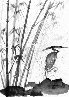 Obraz ilustrace akvarel volavka a bambus