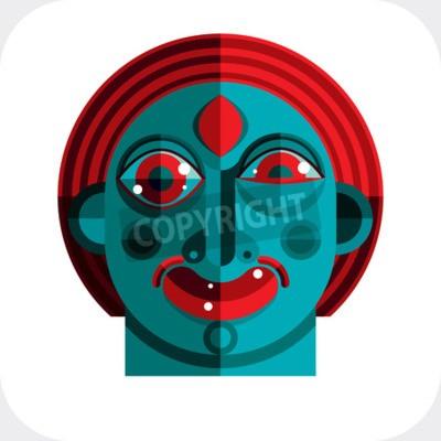 Obraz ilustrace bizarní modernistické avatara, kubismus téma obrazu. Expression na obličej osoby.