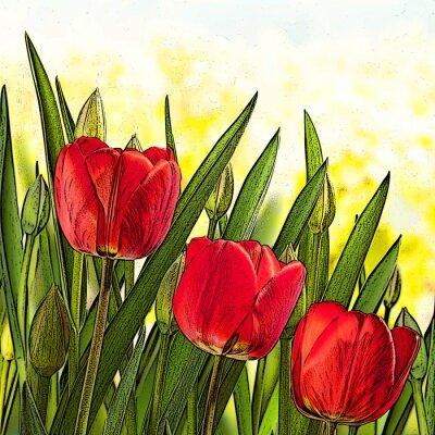 Obraz ilustrace červených tulipánů
