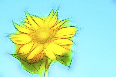 Obraz Ilustrace gelbe Sonnenblume auf Blau