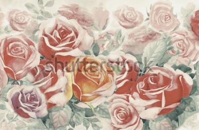 Obraz Ilustrace malované jarní květiny barevné banda růží v zahradě a emoce v realistické vinobraní s abstraktní modré pozadí, Akvarel krajiny původní malba, Pro pohlednice.