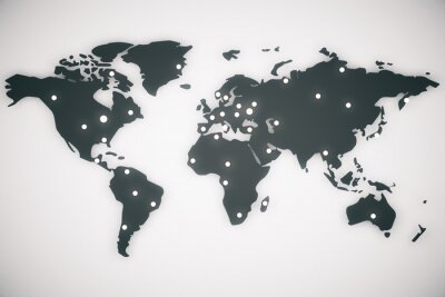 Obraz Ilustrace mapa světa s velkými písmeny, 3d render