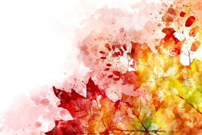 Obraz Ilustrace pádu obrazu. Podzimní pozadí se žlutými a červenými javorovými listy. Digitální malování akvarelem.