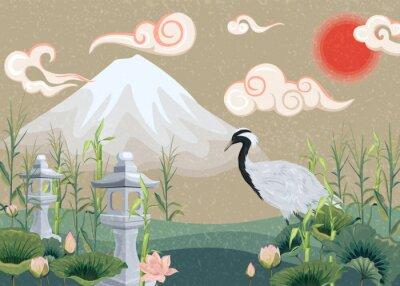 Obraz ilustrace s hory, jeřáb, lotosy a lucerny