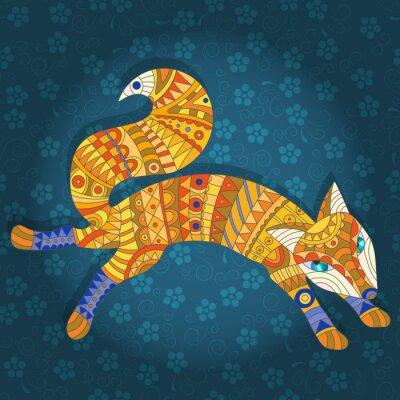 Obraz Ilustrace v barevné sklo ve stylu abstraktního kočky a ryby