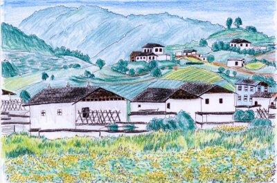 ilustrace Village pole