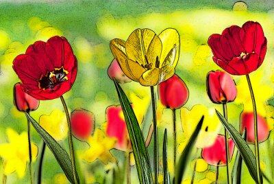 Obraz ilustrace z postele tulipánů
