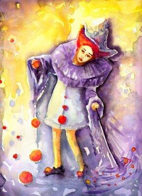 Obraz ilustracja przedstawiająca klauna kręcącego  piłeczkami