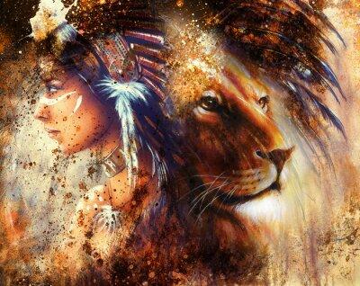 Obraz indická žena na sobě peří čelenka s lvem a abstraktní barevnou koláž