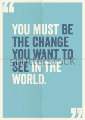 Obraz Inspirační motivující citace Mahatmy Gandhi na pozadí plakátu.
