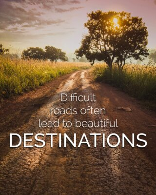 Obraz Inspirational and motivation quote on road in nature background with vintage filter.