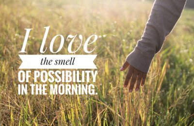 Obraz Inspirational motivational quote - I love the smell of possibility in the morning. With warm morning light over the field & young woman hand touch the leaves of paddy in field background.