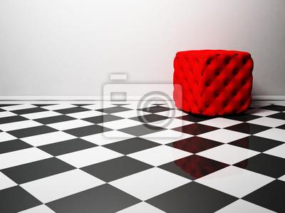 interiérový design s červeným pouf na bílé a černé podlaze