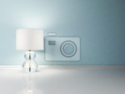 Interiérový design scény s pěknou lampu na bílé podlaze