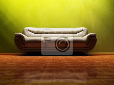 Interiérový design scény s pěknou pohovku