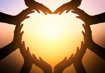 Obraz International Day of Friendship concept: hands in shape of heart on blurred  background