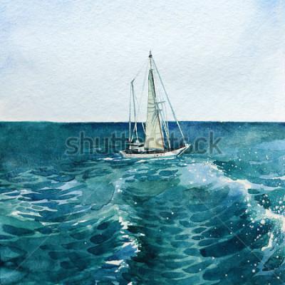 Obraz jachta. loď. moře. vodové barvy. tento obrázek lze použít jako pozadí, samostatný objekt, jako dekoraci, v pohlednicích, tapetu, tisk