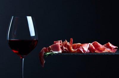 Obraz jamon s červeným vínem