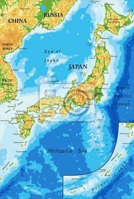 Japonsko reliéfní mapa
