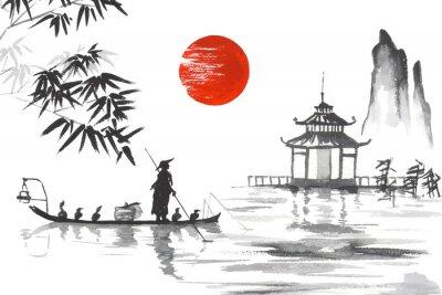 Obraz Japonsko Tradiční japonská malba Sumi-e art Japonsko Tradiční japonská malba Sumi-e umění Muž s lodí