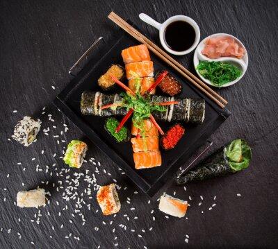 Obraz Japonský mořské plody sushi set