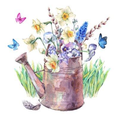 Obraz Jarní kytice s narcisů, macešek, muscari a motýlů