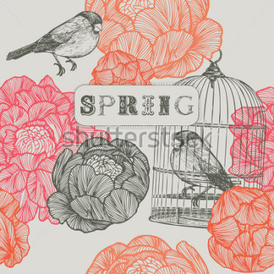 Obraz Jarní pozadí. Ptáci a klece. Bezešvé vzor