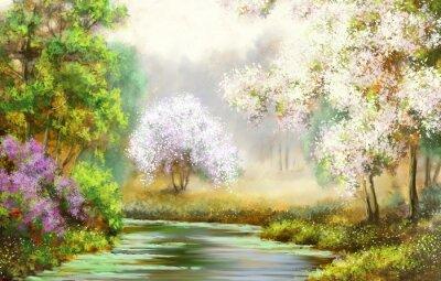 Obraz Jaro, strom, řeka, obrazy krajiny
