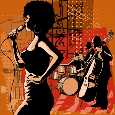 Obraz Jazz singer with saxophonist and double-bass player