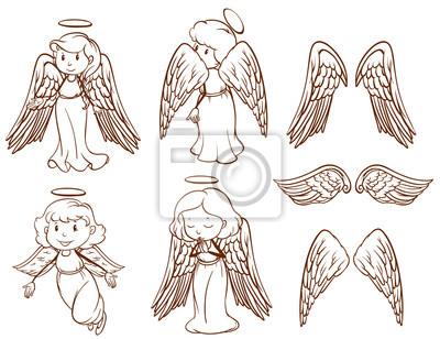 Jednoduche Kresby Andelu A Jejich Kridla Obrazy Na Stenu Obrazy