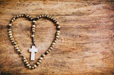 Obraz Jednoduchý kříž uvnitř tvaru srdce - Rustikální