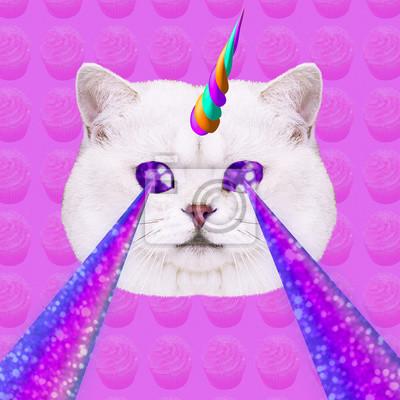 Jednorožec Candy Cat s lasery z očí. Minimální koláž módní koncept