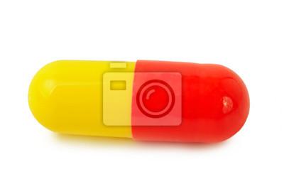 Jednotlivé červená-žlutá lékařské pilulky