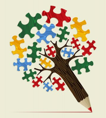 Obraz Jigsaw strategický koncept tužka strom